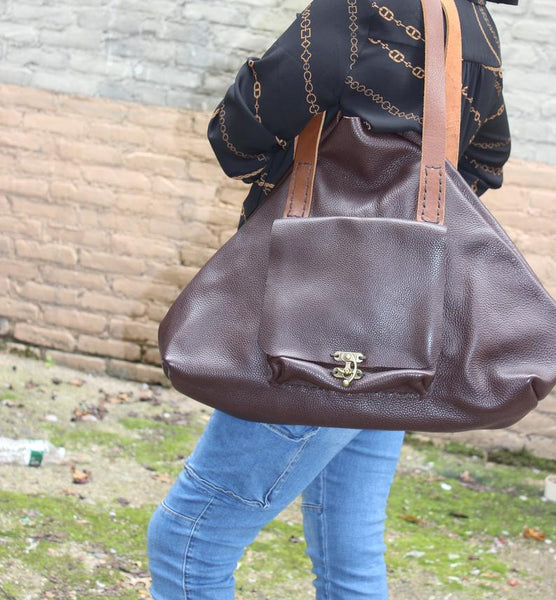 Pebbled Leather Tote Bag