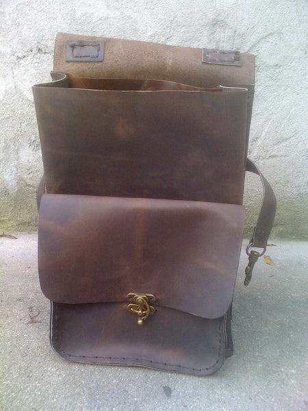 Mens Leather Backpack-Distressed Brown Backpack