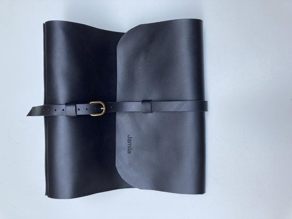 "Black Leather 3-Ring Binder/3"" Ring Binder Portfolio"