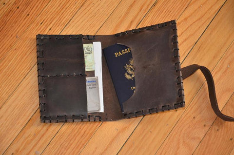 Handmade Leather Passport Portfolio