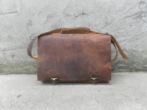 Full Grain Leather Briefcase Bag-Top Handle Genuine Leather Briefcase Shoulder Bag