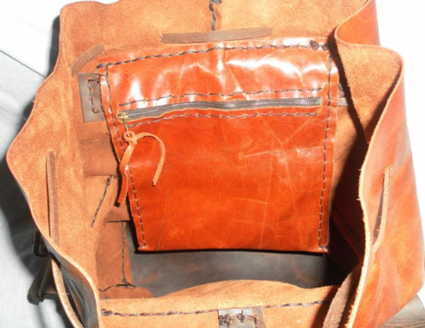 Cognac Leather Backpack for Weekend Trip-Custom Leather Backpack