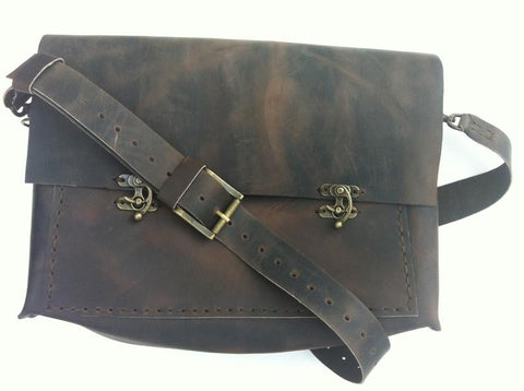 Leather Briefcase Bag For Men-Distressed Brown Crossbody Briefcase Bag