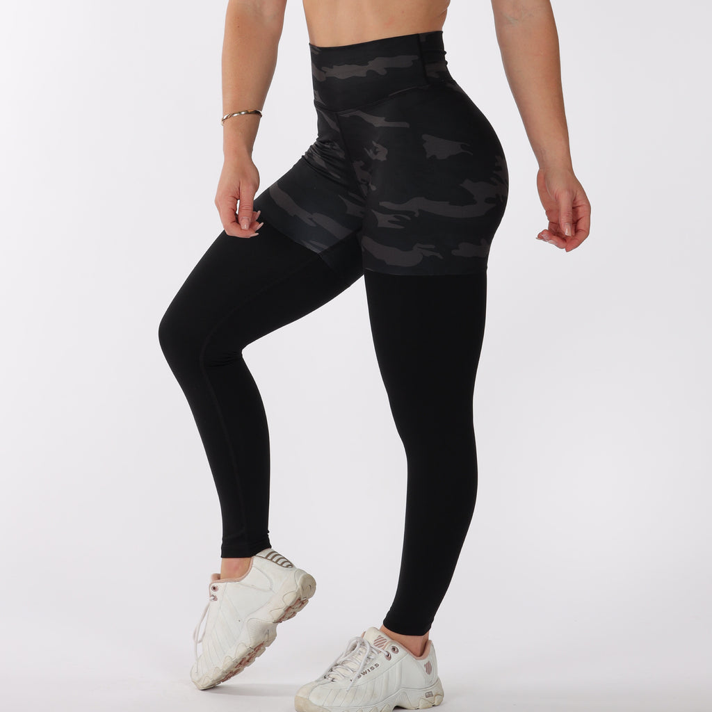 FULL LENGTH 2 TONE SCRUNCH BUM  - BLACK CAMO/BLACK