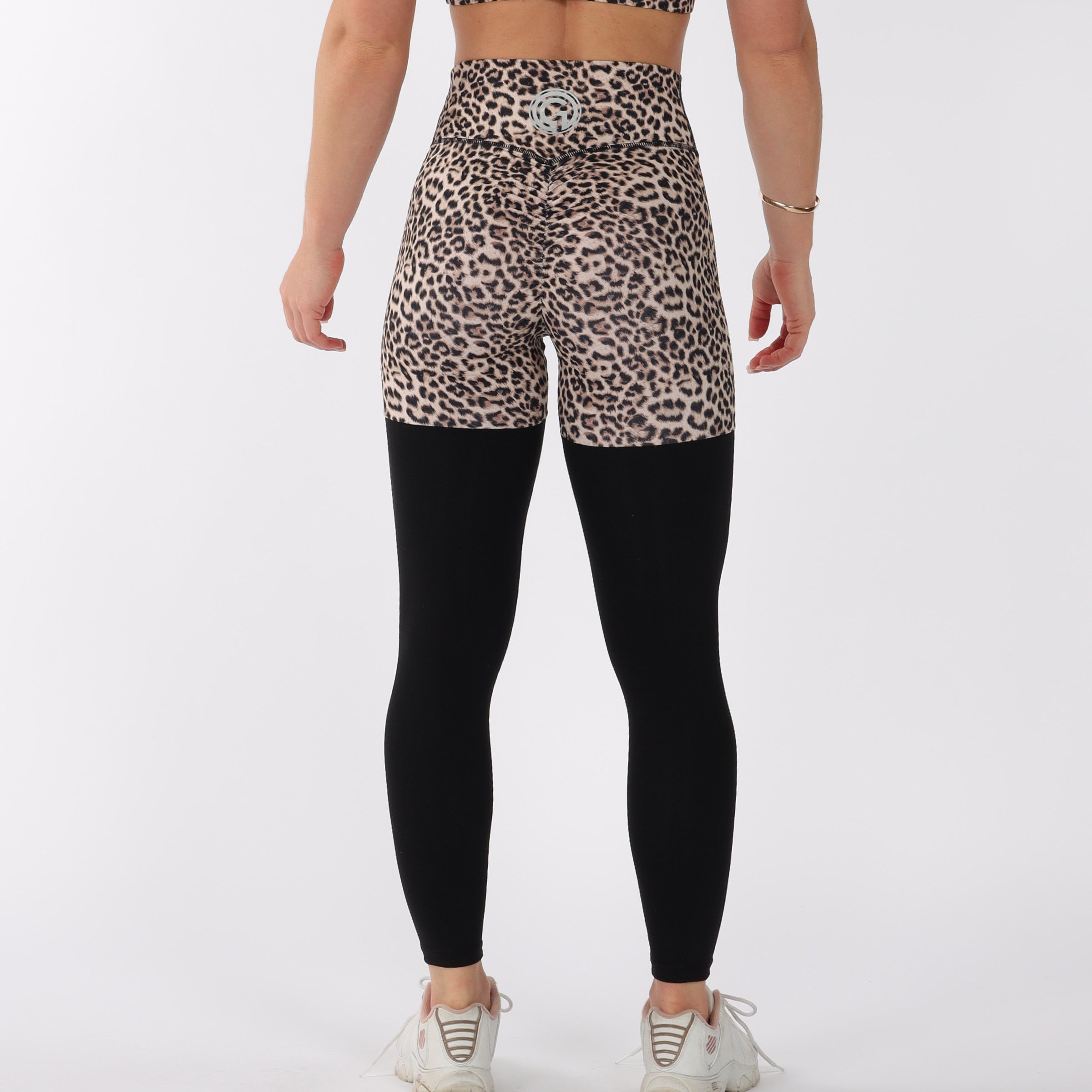 FULL LENGTH 2 TONE SCRUNCH BUM - LEOPARD/BLACK