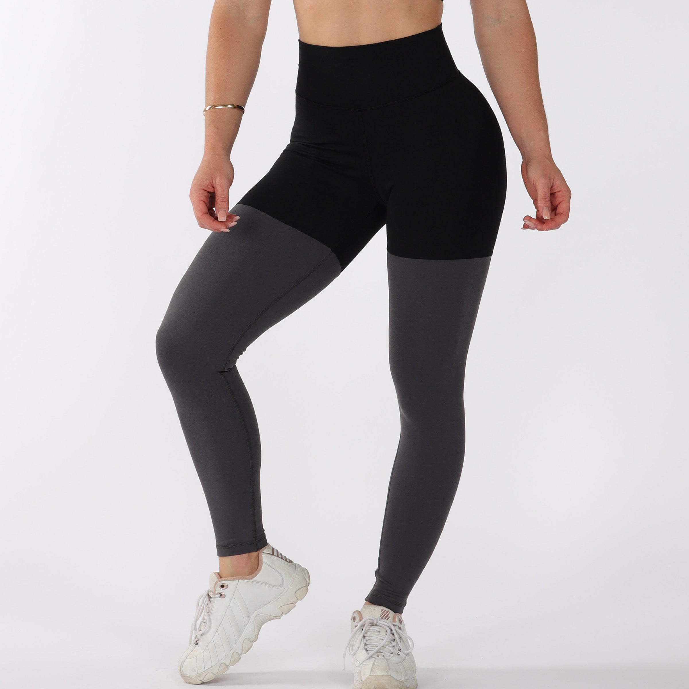 FULL LENGTH 2 TONE SCRUNCH BUM - BLACK/GREY