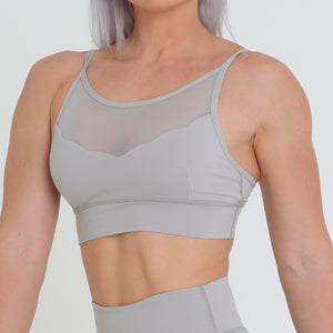 Lily Mesh Crop - Light Grey