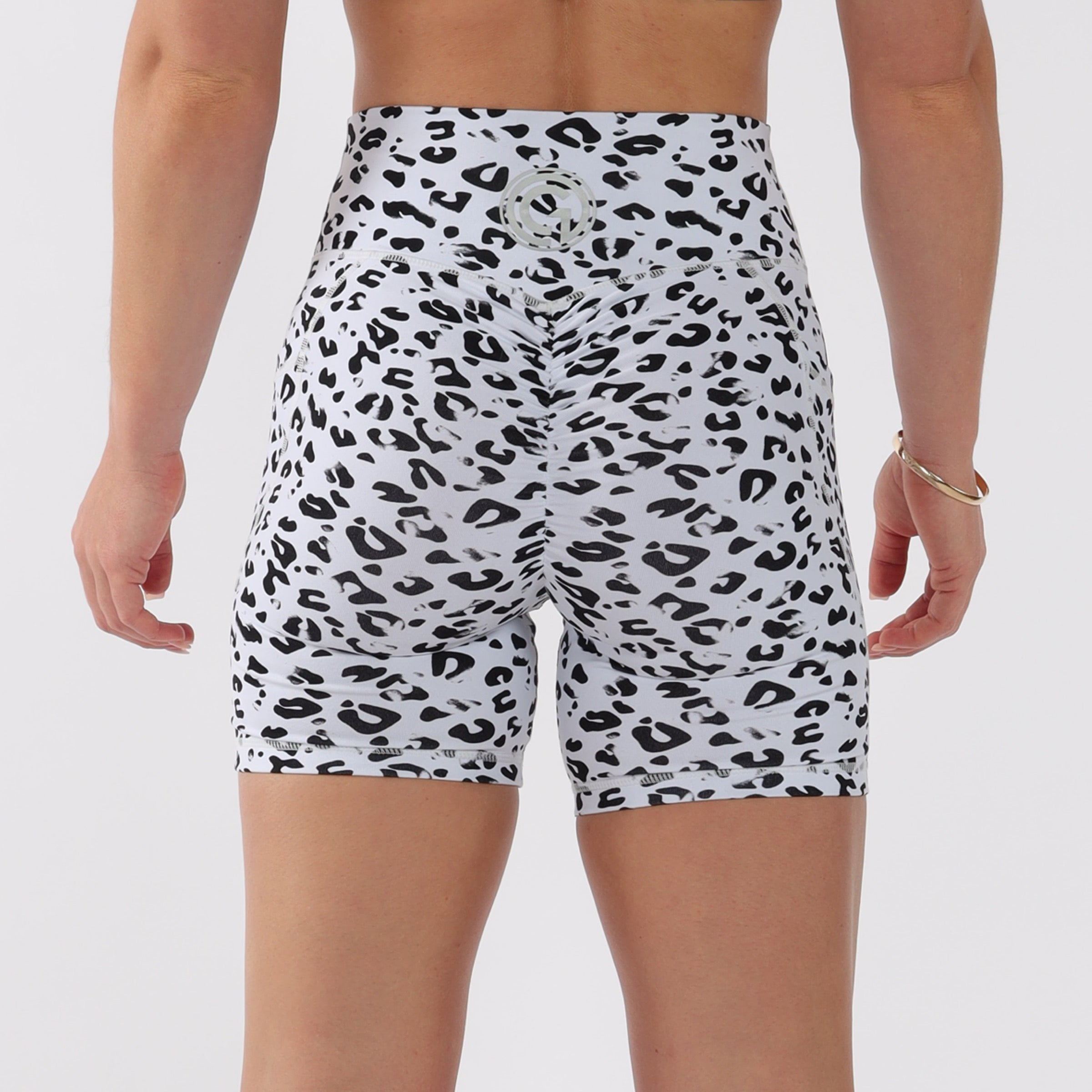 SCRUNCH BIKE SHORTS (POCKETS) - WHITE LEOPARD