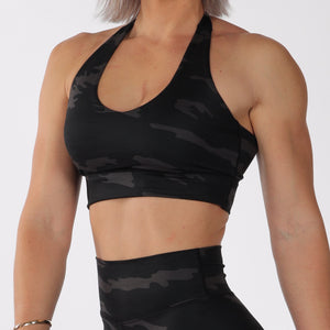 HALTER CROP - BLACK CAMO