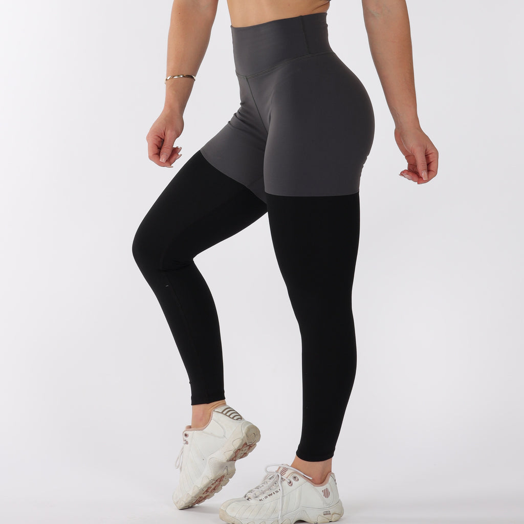 FULL LENGTH 2 TONE SCRUNCH BUM - GREY/BLACK