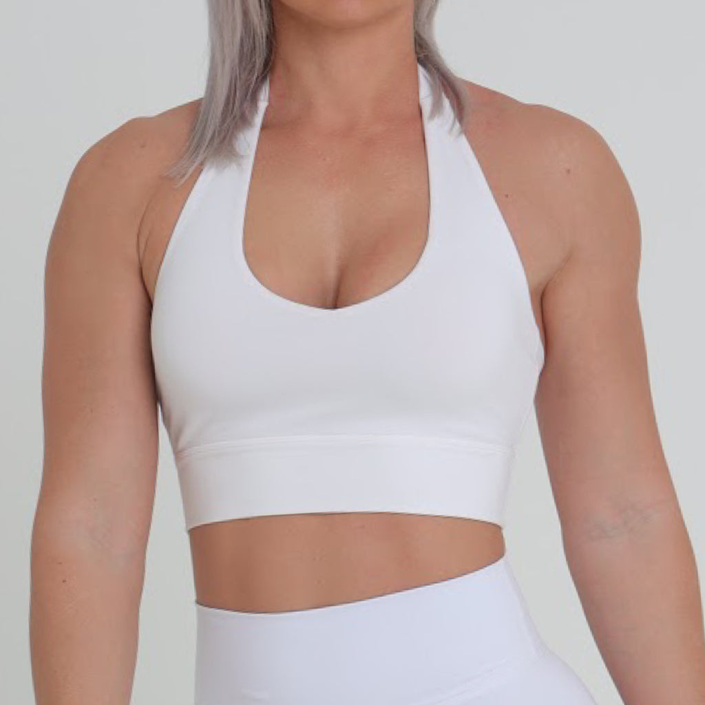 HALTER CROP - WHITE