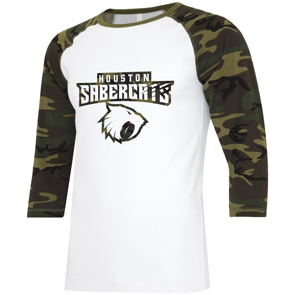 "Houston Sabercats 2021 ""Salute the Troops"" Baseball Tee - Adult Unisex White/Camo - SHOPMLR.COM"