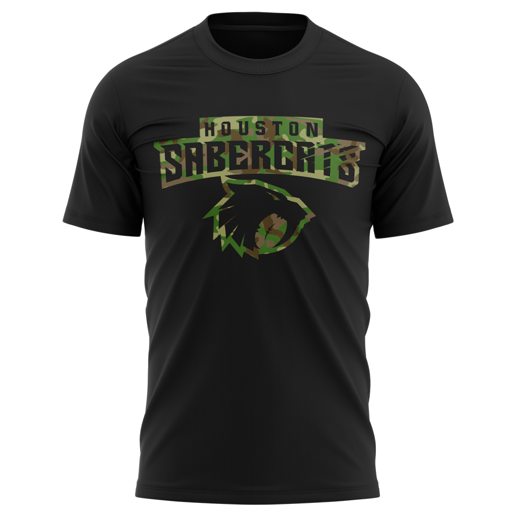 "Houston Sabercats 2021 ""Salute the Troops"" Tee - Adult Unisex Black - SHOPMLR.COM"