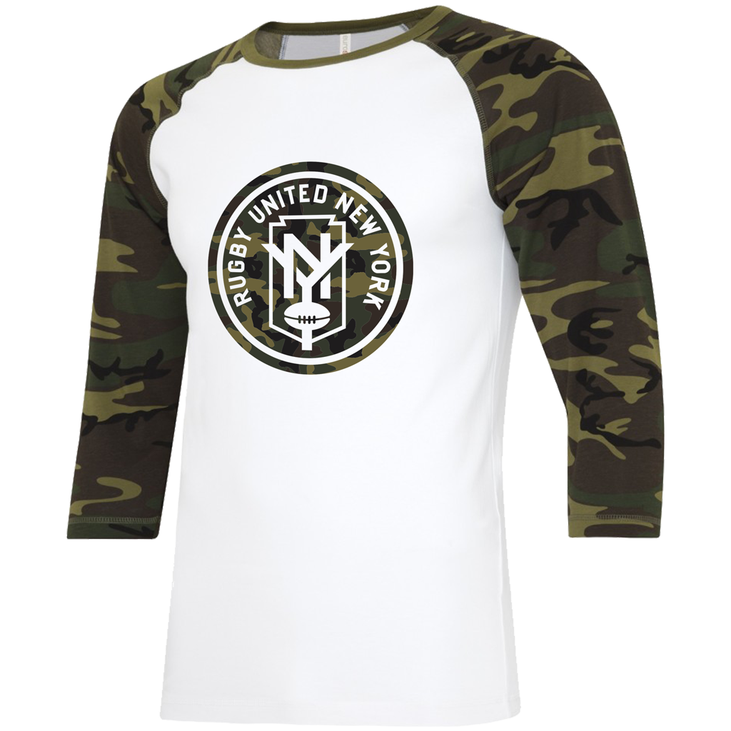 "Rugby United NY 2021 ""Salute the Troops"" Baseball Tee - Adult Unisex White/Camo - SHOPMLR.COM"