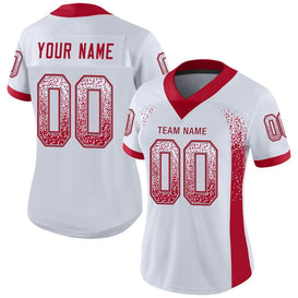 Custom White Red-Gray Mesh Drift Fashion Football Jersey