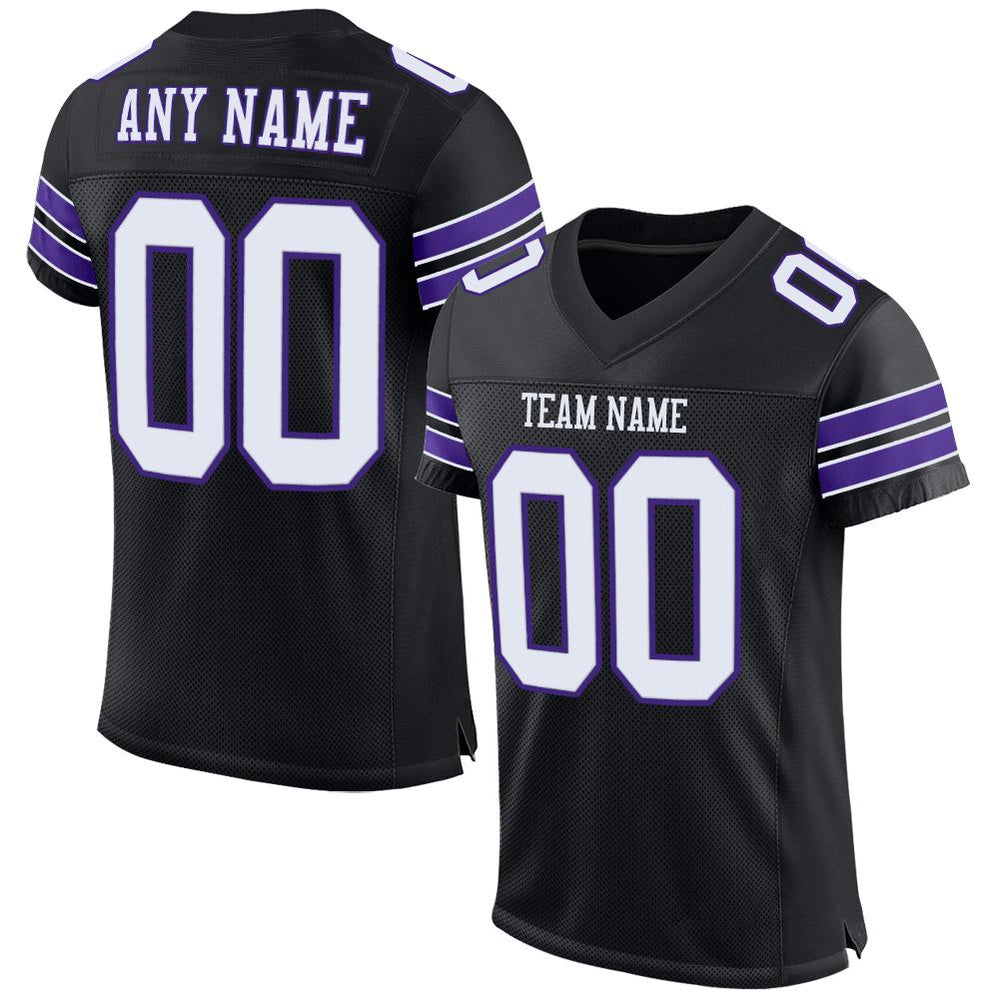 Custom Black White-Purple Mesh Authentic Football Jersey