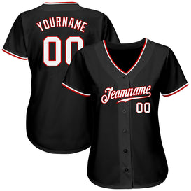 Custom Black White-Red Authentic Baseball Jersey