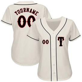 Custom Cream Black-Red Authentic Baseball Jersey