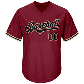 Custom Crimson Black-Khaki Authentic Throwback Rib-Knit Baseball Jersey Shirt