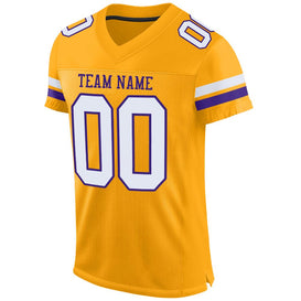 Custom Gold White-Purple Mesh Authentic Football Jersey