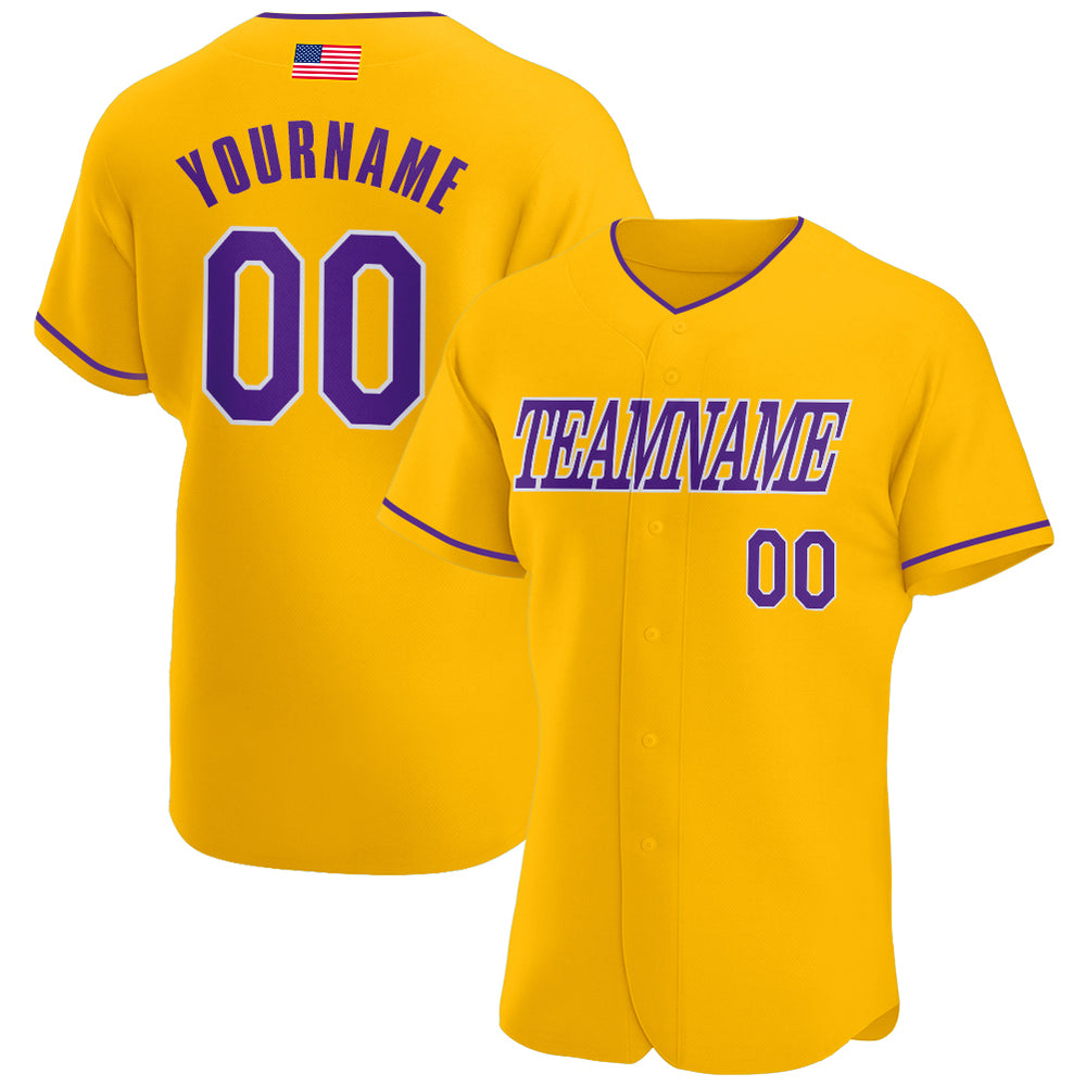 Custom Gold Purple-White Authentic American Flag Fashion Baseball Jersey