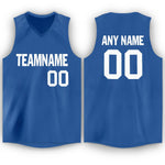 Custom Blue White V-Neck Basketball Jersey