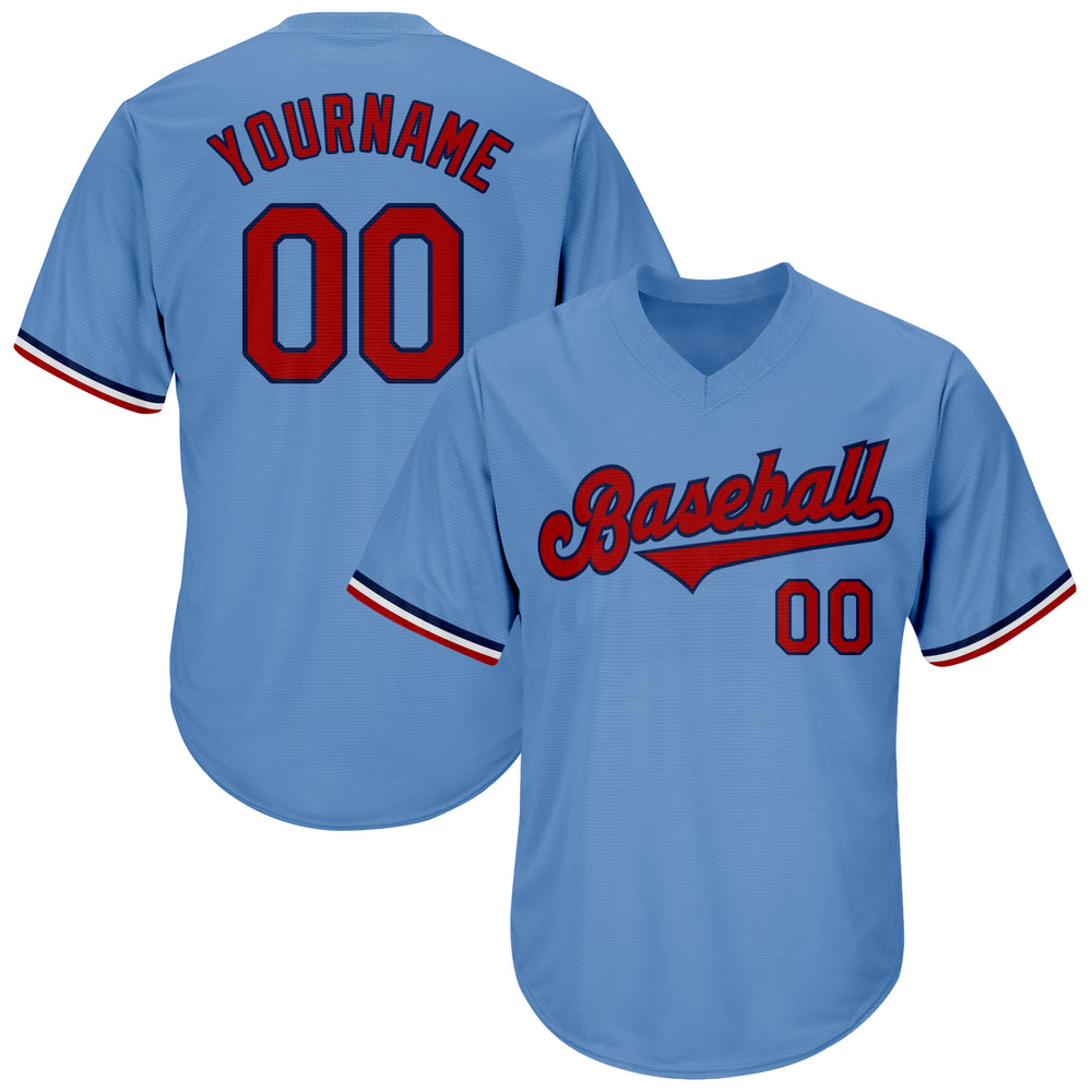Custom Light Blue Red-Navy Authentic Throwback Rib-Knit Baseball Jersey Shirt