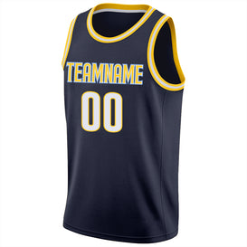 Custom Navy White-Gold Round Neck Rib-Knit Basketball Jersey