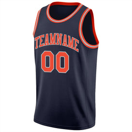 Custom Navy Orange-Silver Gray Round Neck Rib-Knit Basketball Jersey