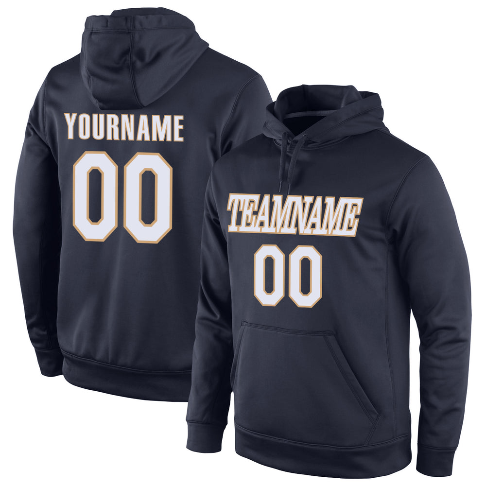 Custom Stitched Navy White-Old Gold Sports Pullover Sweatshirt Hoodie