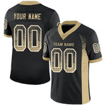 Custom Black Vegas Gold-White Mesh Drift Fashion Football Jersey