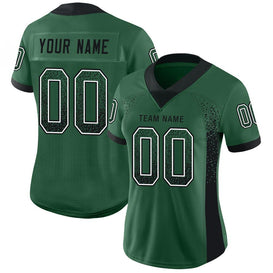 Custom Gotham Green Black-White Mesh Drift Fashion Football Jersey