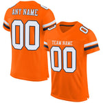 Custom Orange White-Navy Mesh Authentic Football Jersey