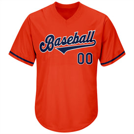 Custom Orange Navy-White Authentic Throwback Rib-Knit Baseball Jersey Shirt
