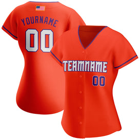Custom Orange White-Purple Authentic American Flag Fashion Baseball Jersey