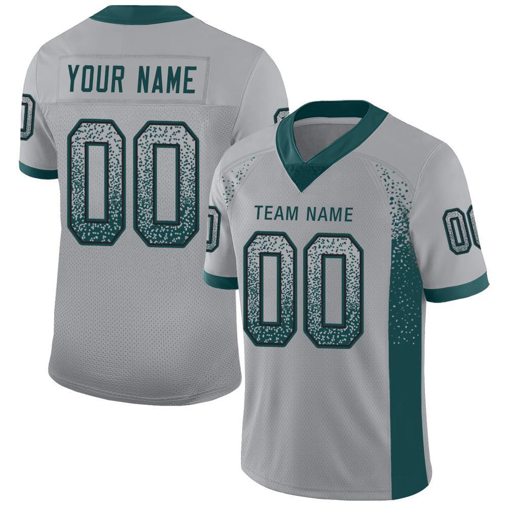 Custom Light Gray Midnight Green-Black Mesh Drift Fashion Football Jersey