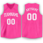 Custom Pink White V-Neck Basketball Jersey