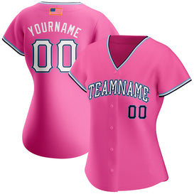 Custom Pink White-Light Blue Authentic American Flag Fashion Baseball Jersey