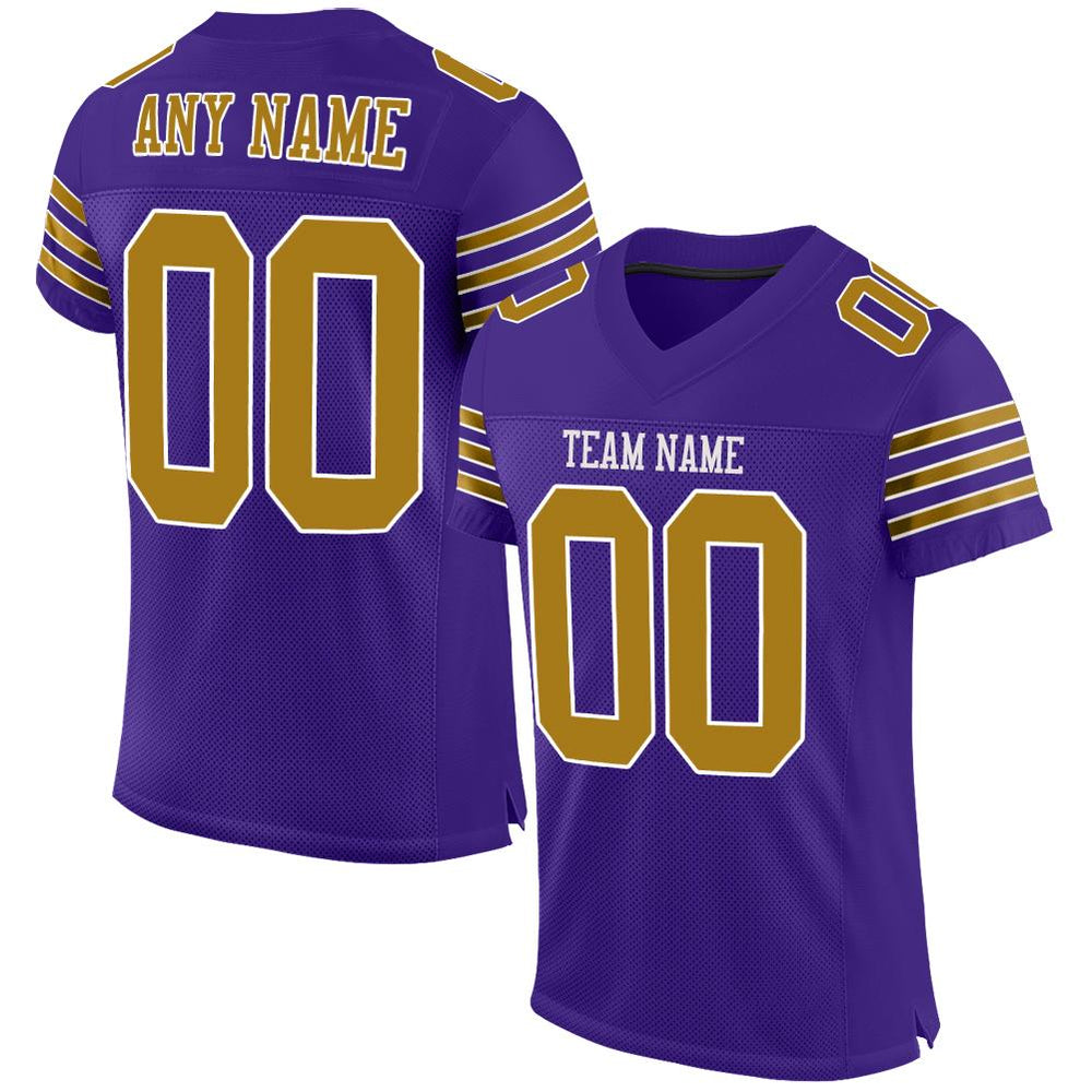 Custom Purple Old Gold-White Mesh Authentic Football Jersey