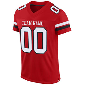 Custom Red White-Black Mesh Authentic Football Jersey