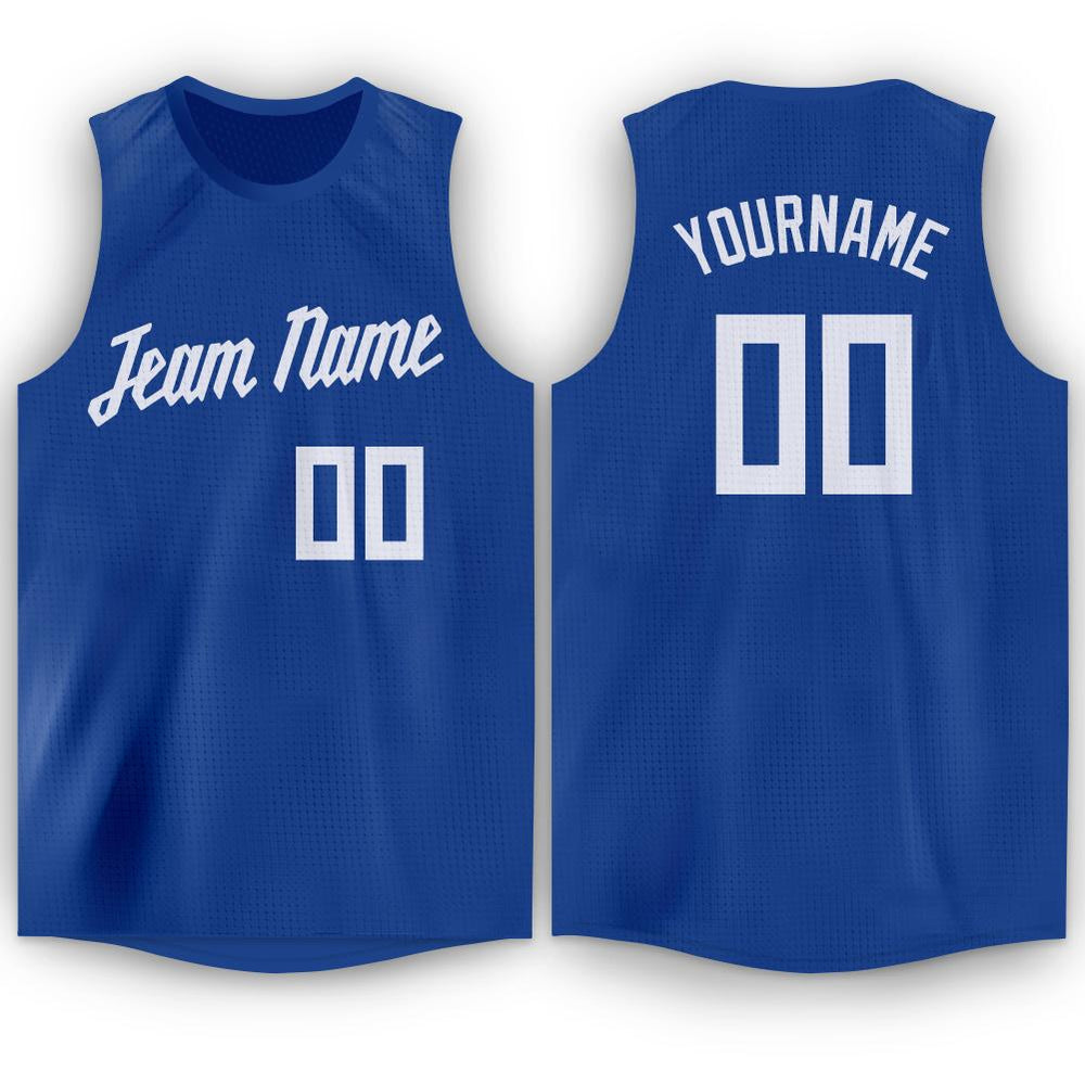 Custom Royal White Round Neck Basketball Jersey