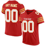 Custom Scarlet White-Gold Mesh Authentic Football Jersey