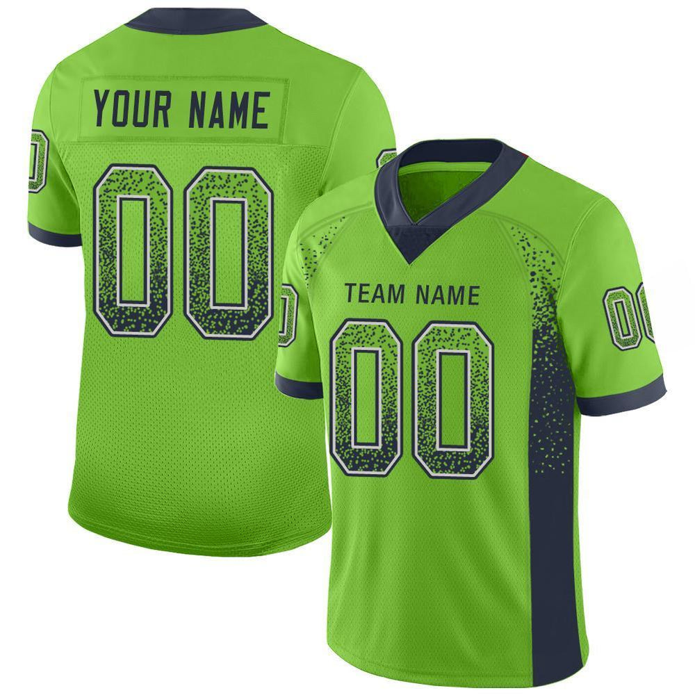 Custom Neon Green Navy-Gray Mesh Drift Fashion Football Jersey
