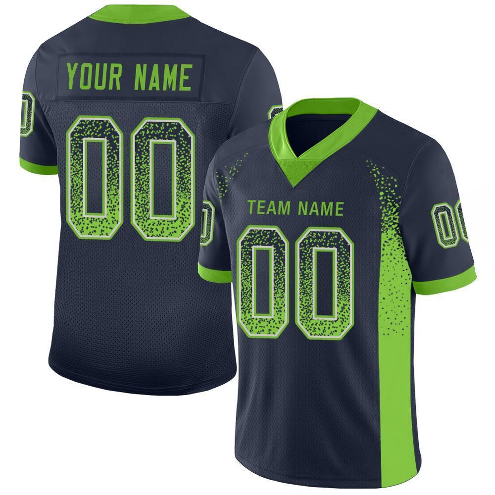 Custom Navy Neon Green-Gray Mesh Drift Fashion Football Jersey