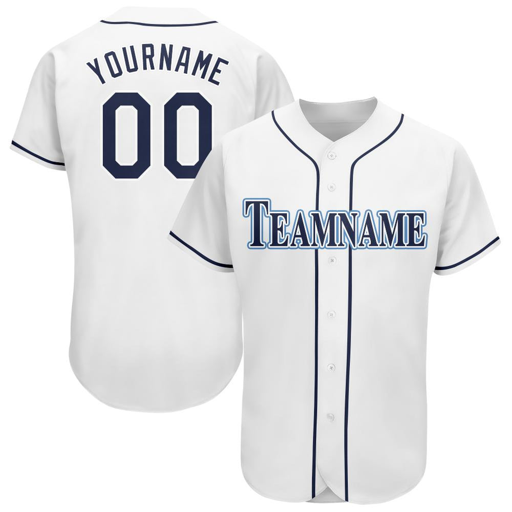 Custom White Navy-Powder Blue Baseball Jersey