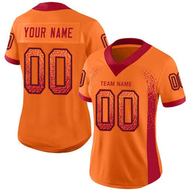 Custom Orange Red-Black Mesh Drift Fashion Football Jersey