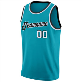 Custom Teal White-Black Round Neck Rib-Knit Basketball Jersey