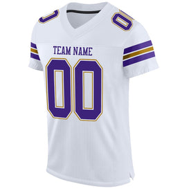 Custom White Purple-Old Gold Mesh Authentic Football Jersey