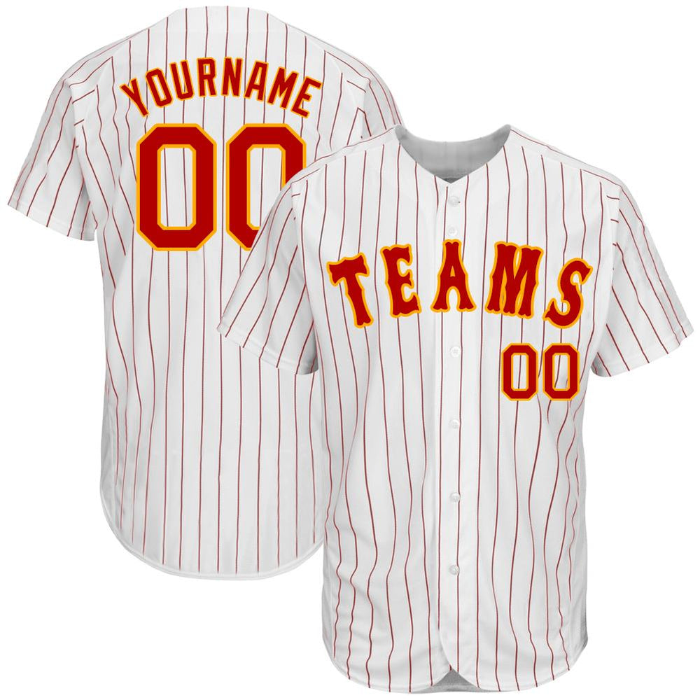 Custom White Red Strip Red-Gold Authentic Baseball Jersey