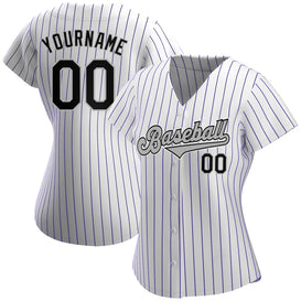 Custom White Purple Strip Black-Gray Authentic Baseball Jersey